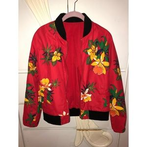 Jackets & Blazers - Floral Red Bomber Jacket